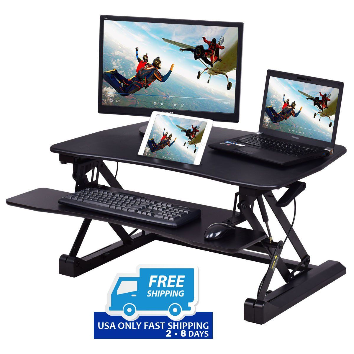 Height Adjustable Stand up Lift Rising Laptop Desk with