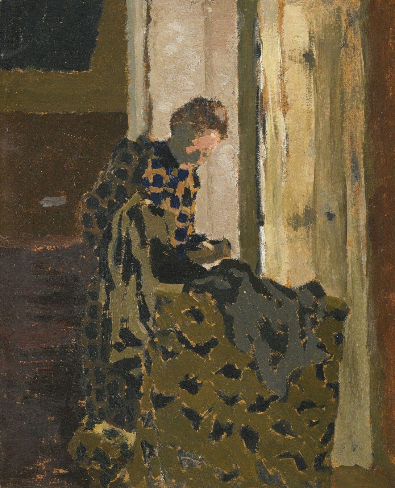 Édouard Vuillard (French, 1868-1940),Marie brossant un vêtement à la fenêtre[Marie brushing a garment at the window], c.1893. Oil on board, 26.7 x 22 cm.