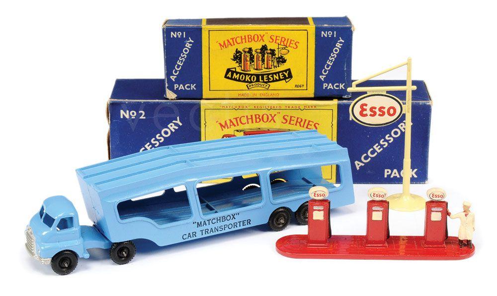Matchbox Accesory Pack No. 1 Esso Petrol Pumps & Signs and Matchbox Moko No. A2 Bedford Car Transporter