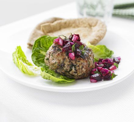 Turkey burgers with beetroot relish This recipe comes from BBC Food 'Eat Like an Athlete'... Very appropriate!