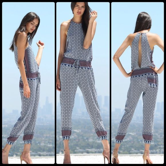 "YFB ✌️ DIEGO Jumpsuit NWT Halter jumpsuit in lightweight printed fabric with adjustable drawstring at waist. Partially open back detail with button closure. Back pocket.  Front length from HPS to WS 16 3/4"", front rise 8 3/4"", inseam 27 1/4"", leg opening 5""  100% Rayon. Hand wash cold, lay flat to dry Young Fabulous & Broke Pants Jumpsuits & Rompers"