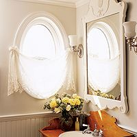 Beautiful! A perfect, simple way to add privacy while still showing off the archtiectural quality of the window.