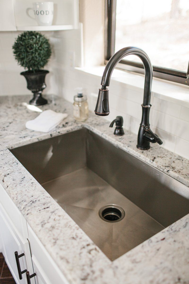 White Granite Kitchen Sink Our Vacation Home In Flagstaff White Subway Tile Backsplash