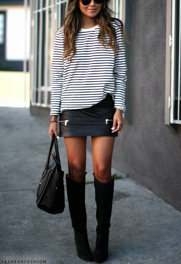 Stripes. Leather Skirt. Boots.