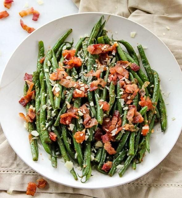 Green Bean Salad with Tomato and Bacon | Take green beans to the next level with this side dish recipe!