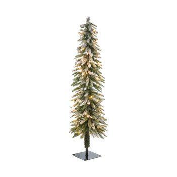 Green Flocked Alpine Accent Pre Lit Christmas Tree 4 Pre Lit Christmas Tree Pencil Christmas Tree Flocked Christmas Trees