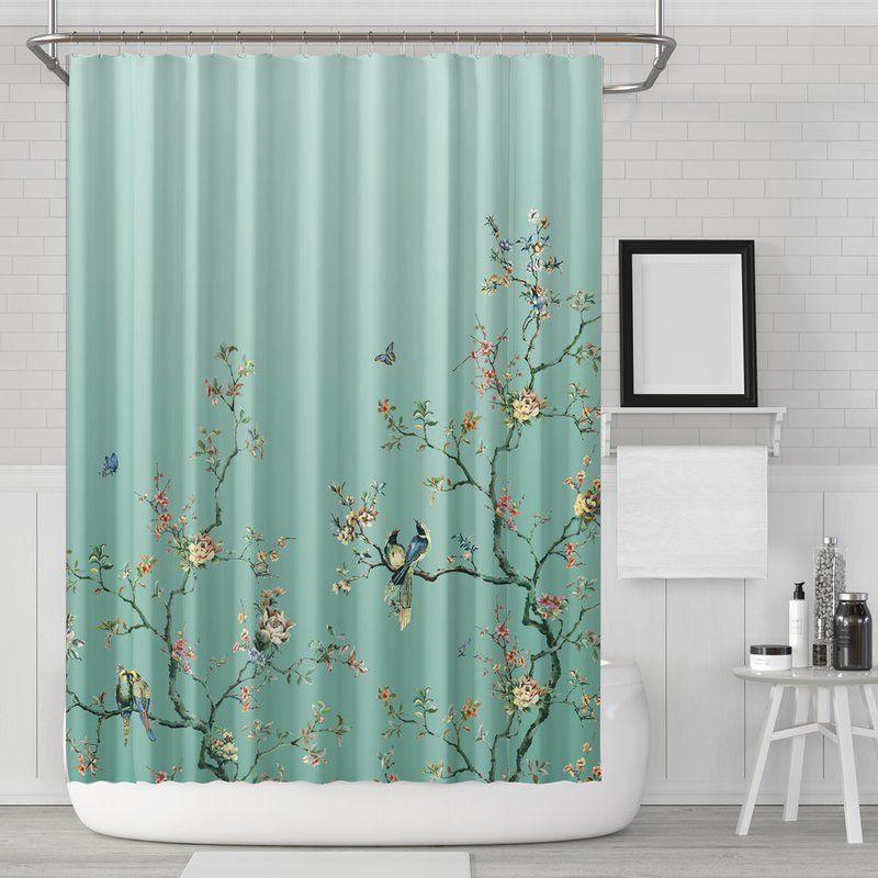 Robinett Flower Birds Single Shower Curtain Hooks Bird Shower