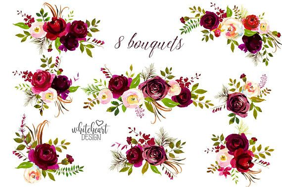 Bordo Flowers Watercolor Clipart Burgundy White Red Florals