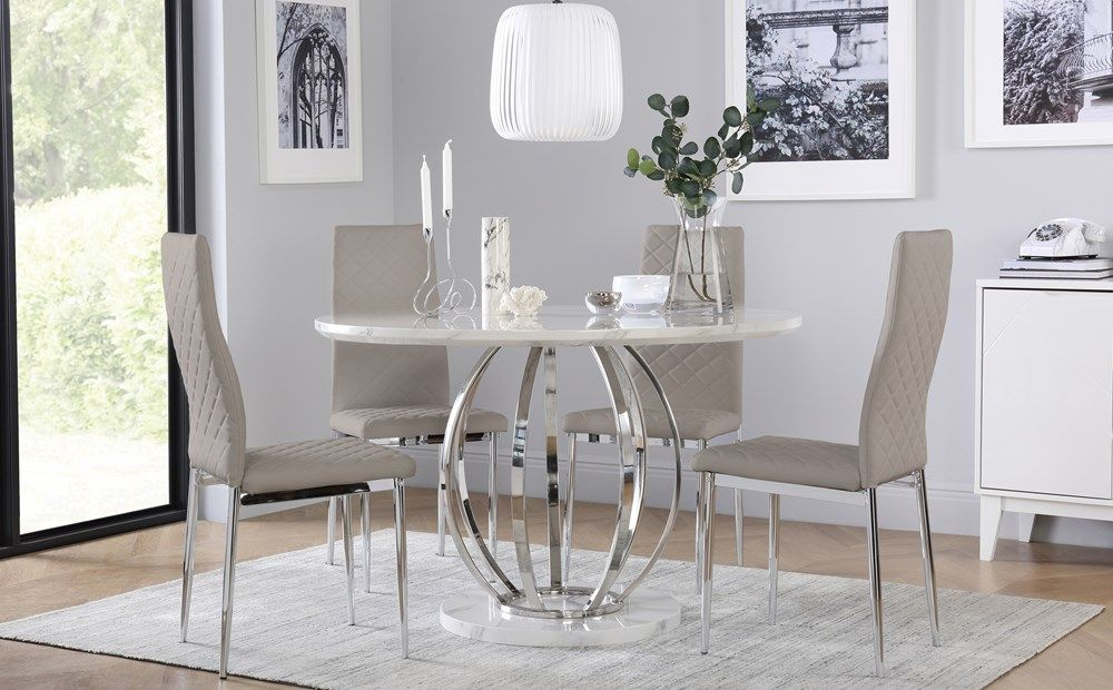 Savoy Round White Marble And Chrome Dining Table With 4 Renzo