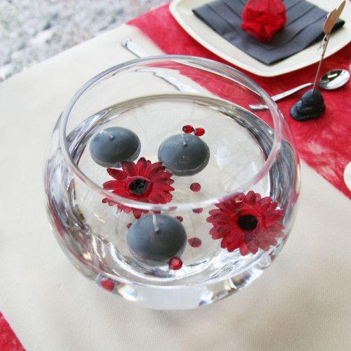 centre table avec vase eau bougies flottantes d coration de table pinterest wedding. Black Bedroom Furniture Sets. Home Design Ideas