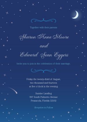 starry night wedding theme blue wedding invitation starry night