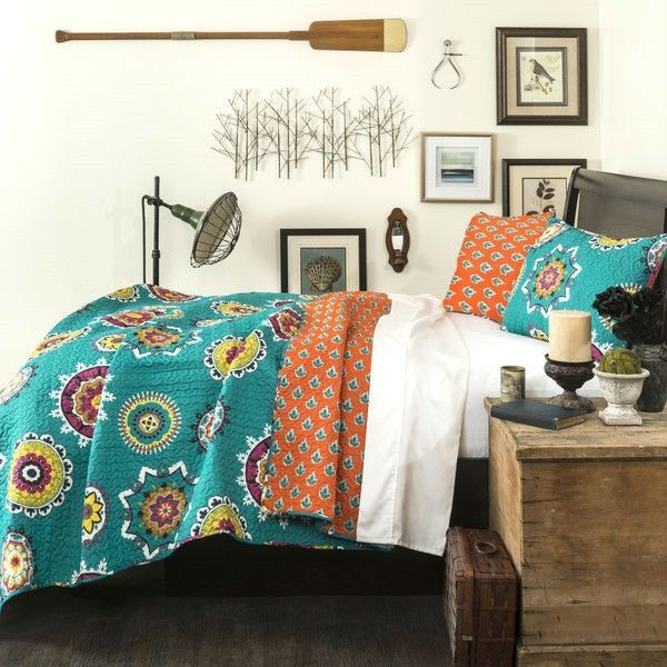 King Turquoise Blue Orange Yellow Paisley Geometric 100% Cotton 3 Piece  Quilt Coverlet Set