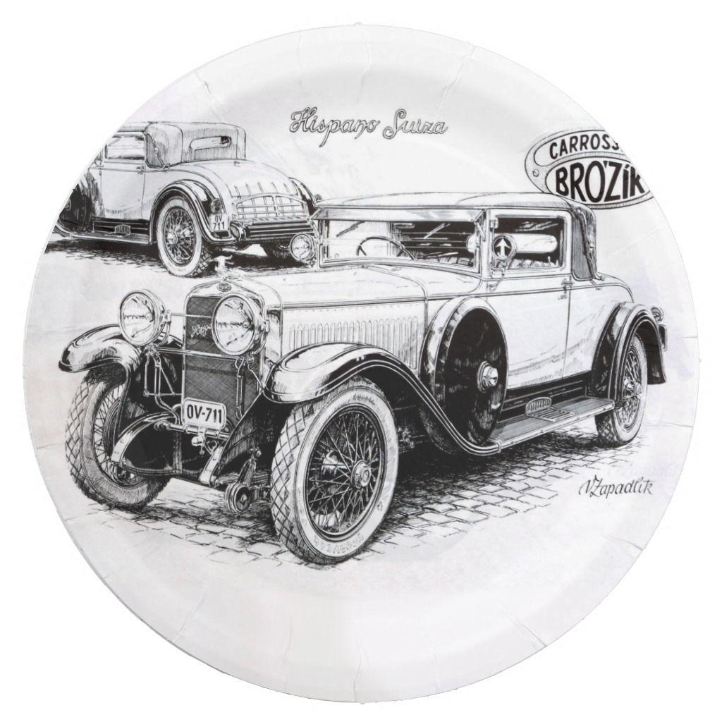 Vintage car illustration paper plate | Zazzle.com