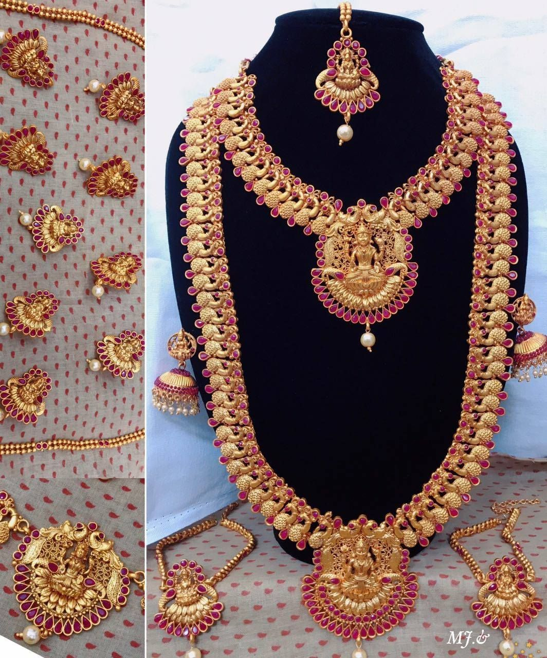 d9ebe9bd9 Beautiful necklace and long haram set with lakshmi devi pendant. 20  November 2017