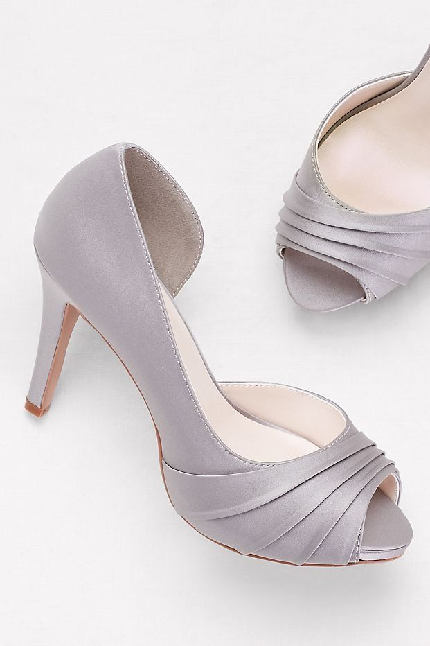3c048788d6ad Pleated Satin D Orsay Platform Pumps in Mercury for your Gray wedding  accessories from David s Bridal