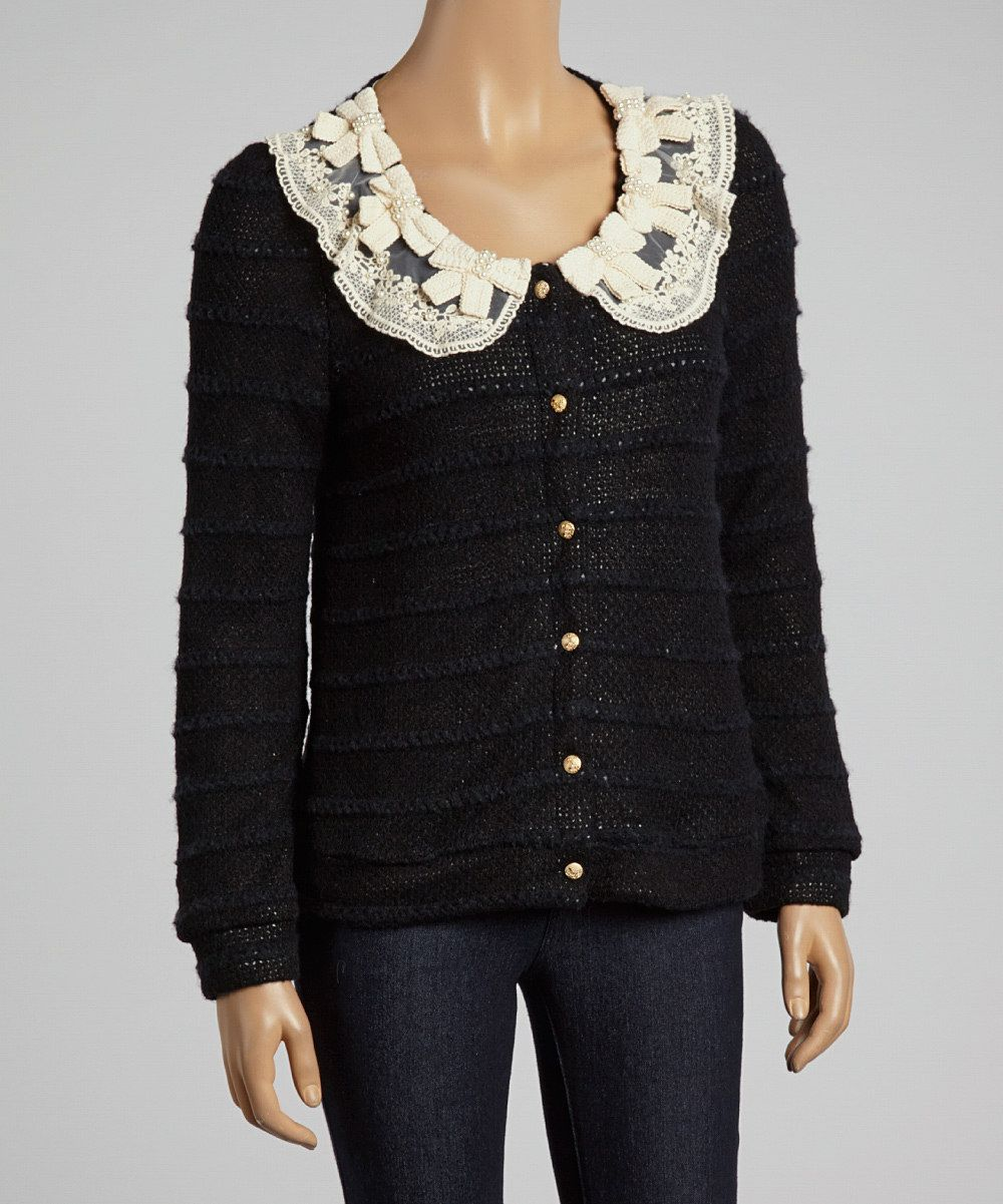 Love this Deep or Shallow Black Snowy Gift Cardigan by Deep or Shallow on #zulily! #zulilyfinds