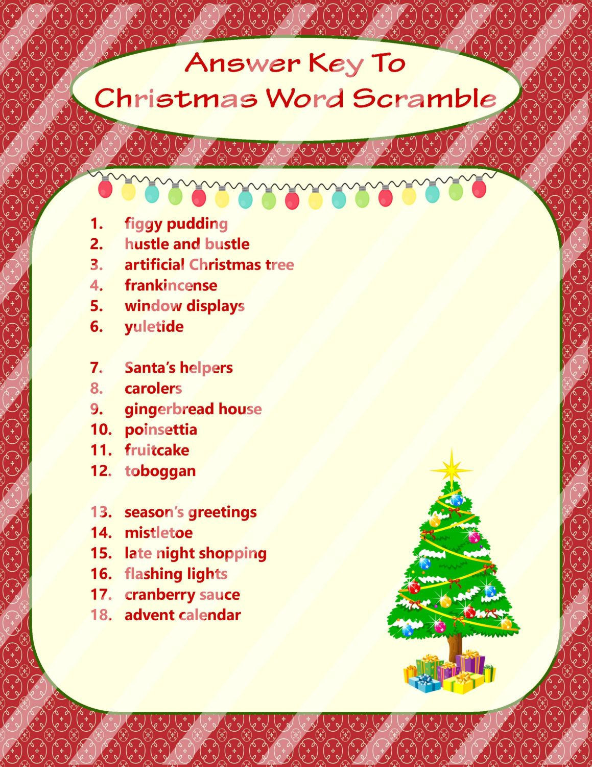 Christmas Word Scramble Printable Christmas Game Diy