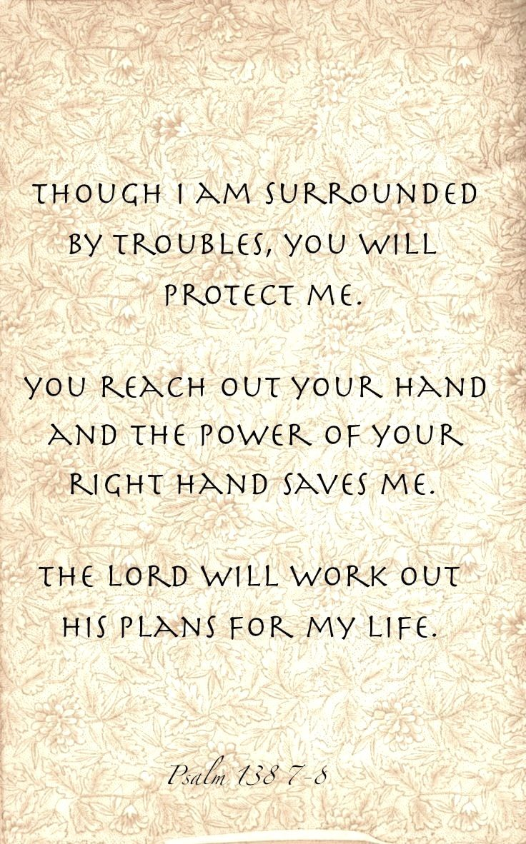 Psalm 138 7 8 God Will Protect Us He Has A Plan For Our