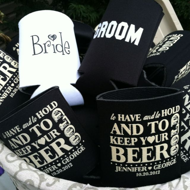 Beer koozies for wedding/shower favor ~idea from Pinterest ;)