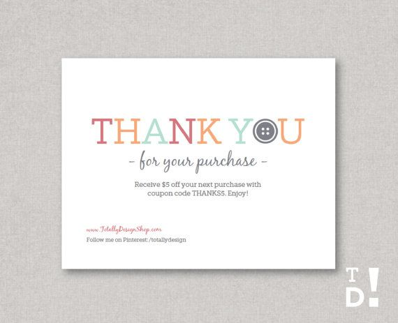 Thank you for your purchase notecard Printable INSTANT DOWNLOAD - business thank you card template