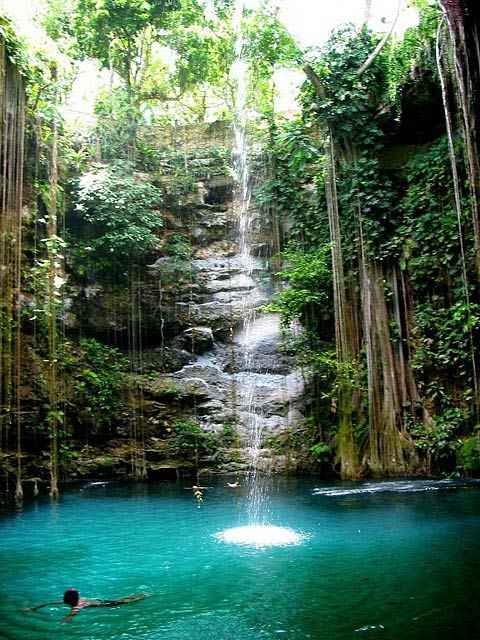 chichen itza mexico natural swimming pool mexico ik kil cenote jump in and swim in this natural