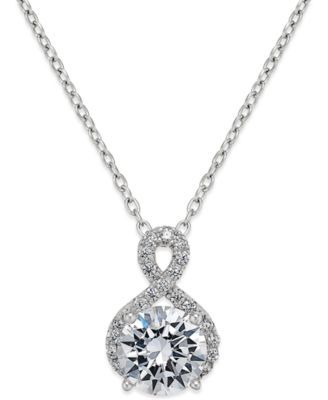 Giani Bernini Cubic Zirconia Infinity Pendant Necklace in Sterling Silver | macys.com