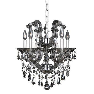Allegri Brahms 5 Light Crystal Chandelier Crystal: Firenze Smoked Fleet Argentine