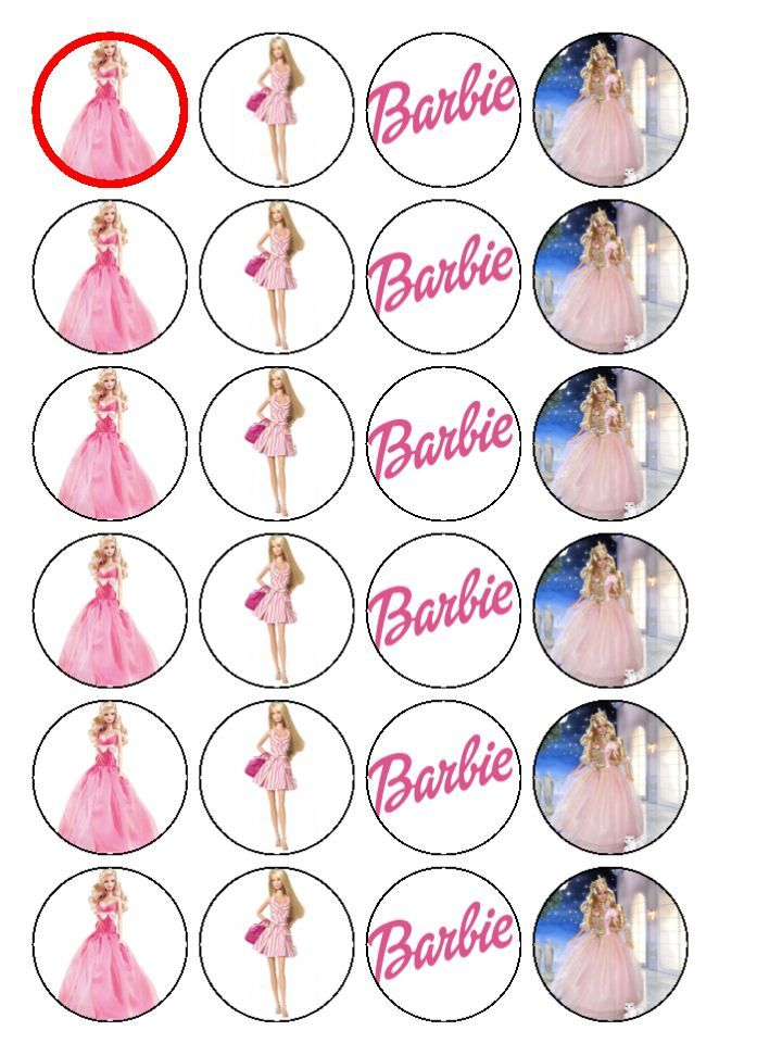 24 X Mixed Barbie Edible Fairy Cake Toppers