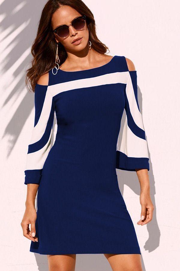 f3407489d Blue Cold Shoulder Two Tone Zipper Back Casual Dress
