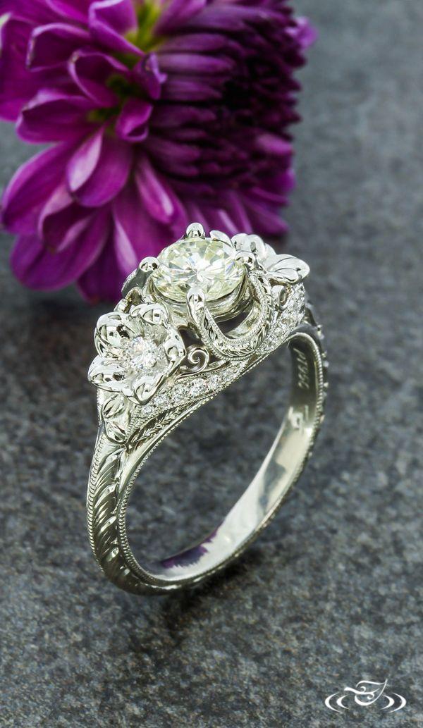 Plumeria Flower Engagement Ring Greenlakejewelry Edwardian Engagement Ring Antique Antique Engagement Rings Vintage Antique Engagement Rings