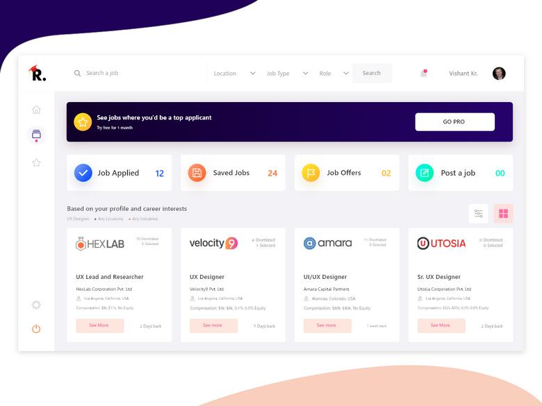 Job Search Dashboard Design Dashboard Design Web Design Basics Job Search