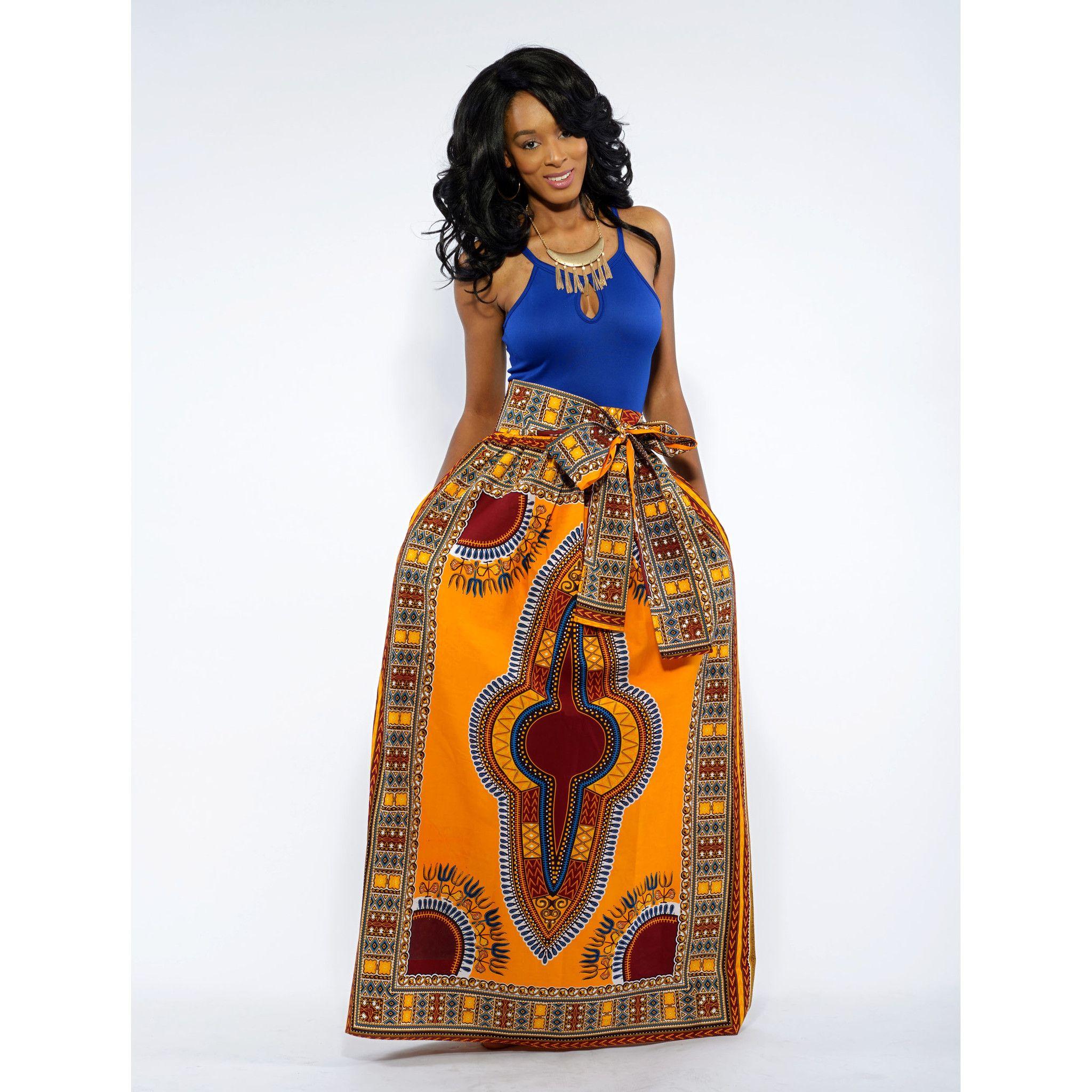 Dashiki African Print Maxi Skirt (Yellow/Maroon) | Style ...