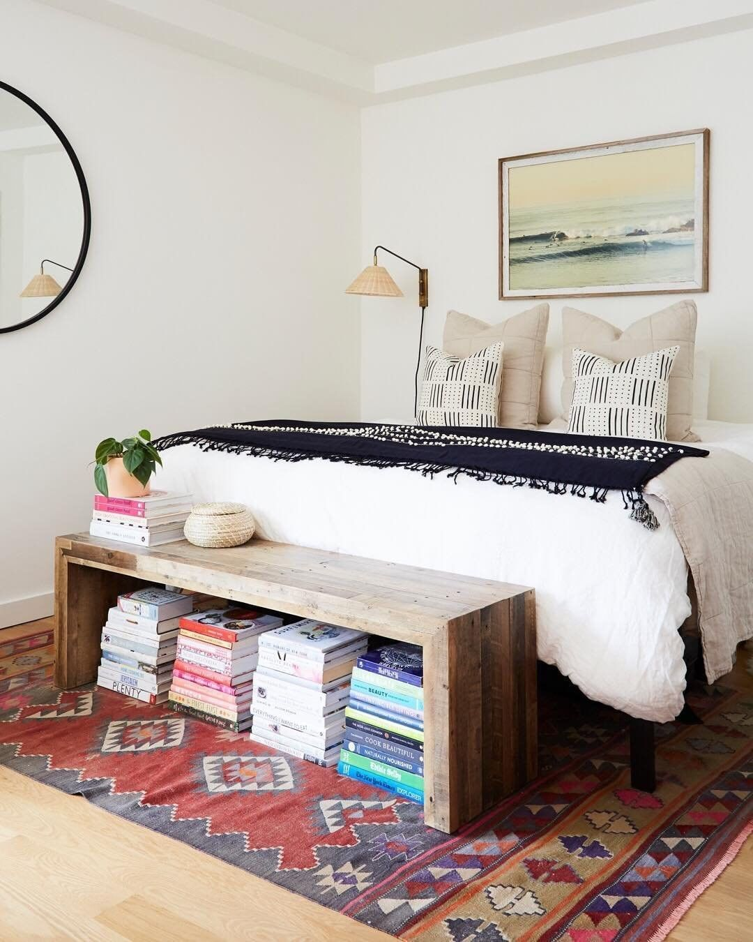 Traditional Bedroom With Bench At Foot Of Bed Creative Book Display Under Bench Oatmeal Quilt And White Linen Duvet Ig Cl Home Decor Eclectic Bedroom Home