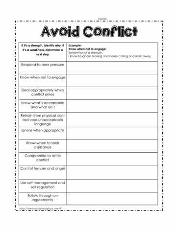 Avoid Conflict Worksheet  Class Management