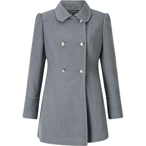 Miss Selfridge Grey Military Pea Coat (125 BRL) ❤ liked on ...