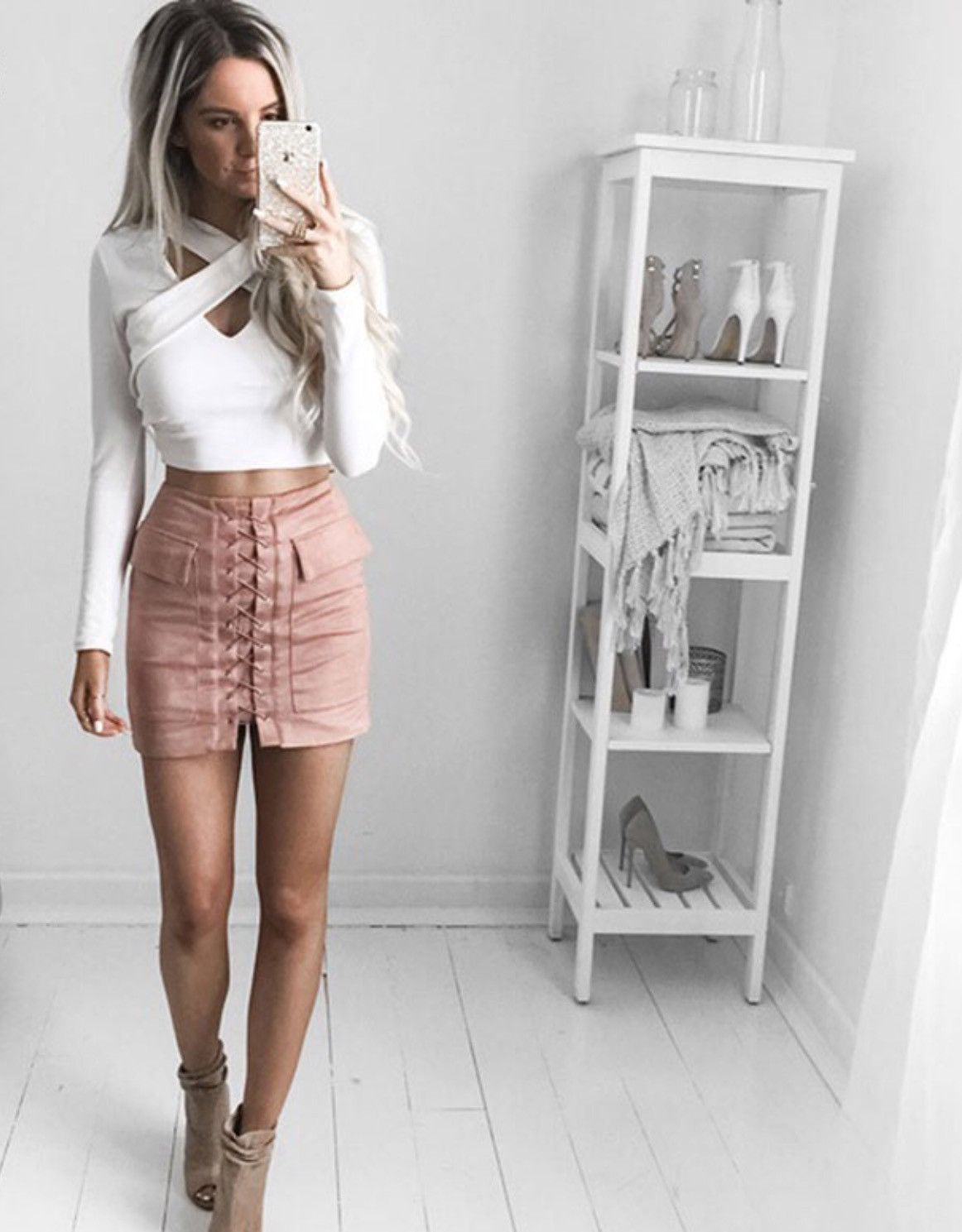 ee1b03e065 Lace-up suede mini skirt in dusty pink | Anything but my birthday ...