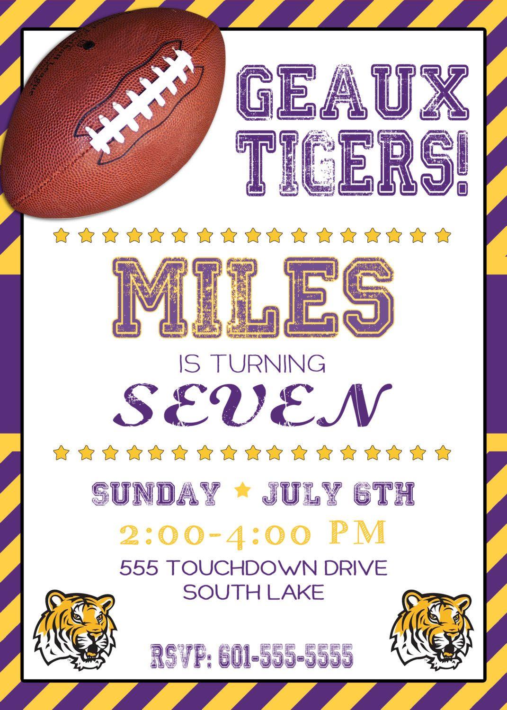 Football Birthday Invitation Football Party Football Invite Boys ...