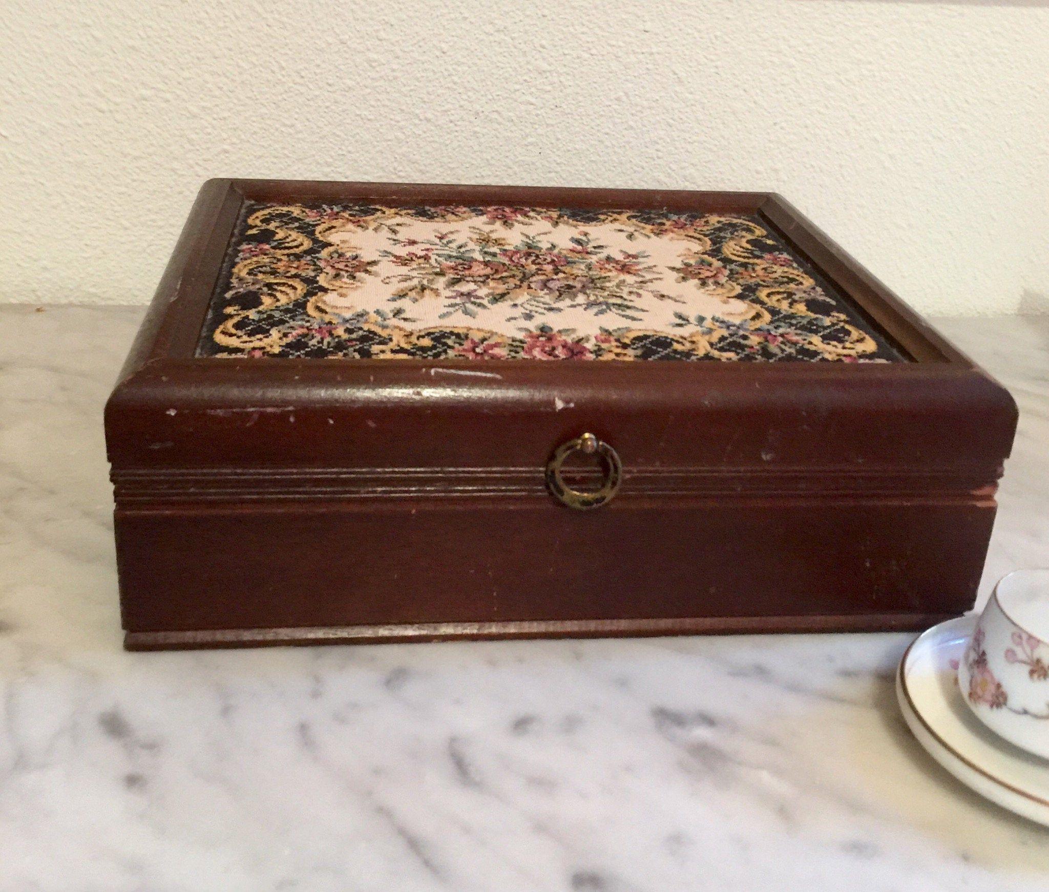 Vintage Tapestry Jewelry Box Japan Vintage tapestry