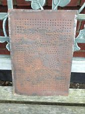 1 SINGLE ANTIQUE PRIMITIVE COUNTRY PUNCHED TIN PIE SAFE PANEL STARS RUSTY #1