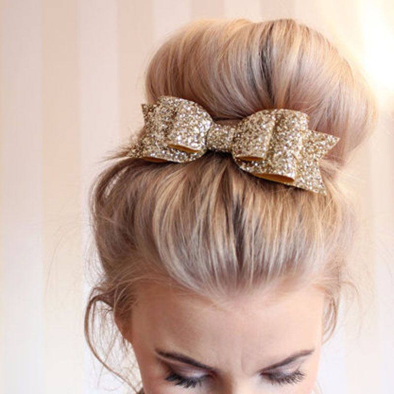 """4/"""" Baby Girls SEQUINED BOW Alligator Hair Clip Glitter Cute Hairband Accessories"""