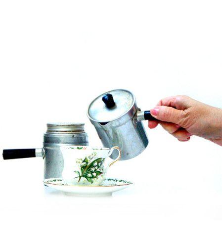 Antique italian coffee pot , Neapolitan flip coffee pot .