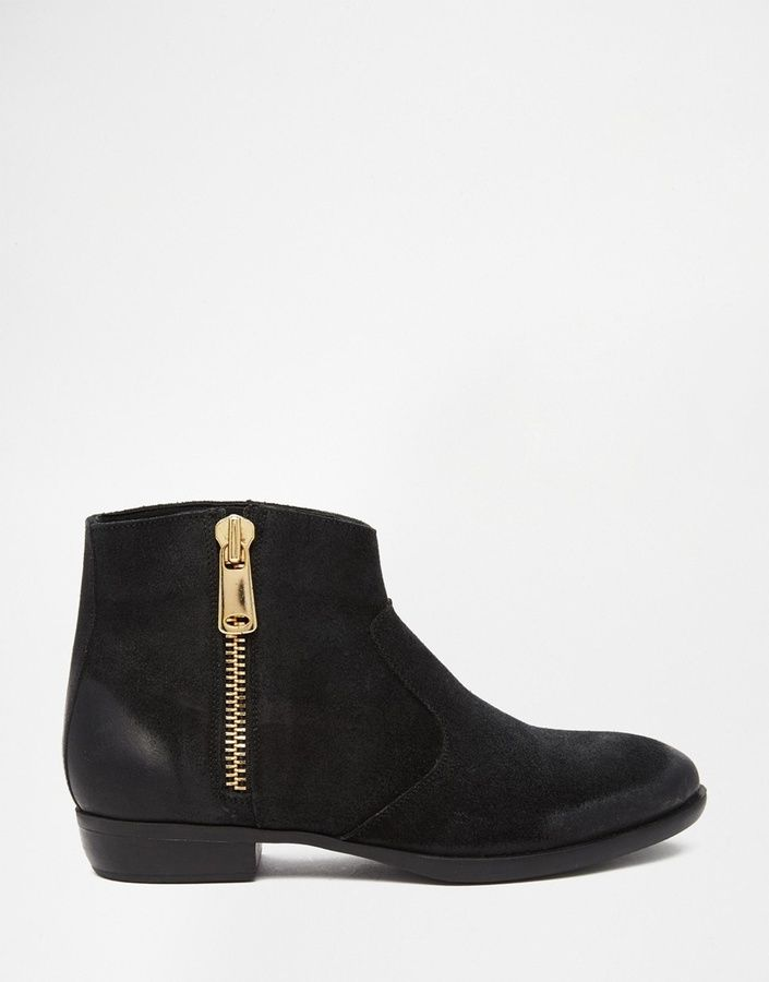 Buy Women Shoes / Dune Popple Black Suede Zip Side Ankle Boots