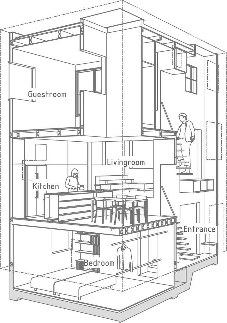 공간감을 극대화한 일본의 소형 목조주택, House in Futako-Shinchi : 네이버 블로그 ...