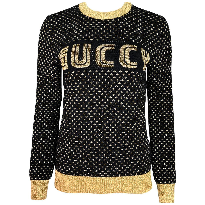 2d89f2dc23bd Gucci 2018 Black & Gold Guccy Sega Sweater   Fashion   Gucci 2018 ...