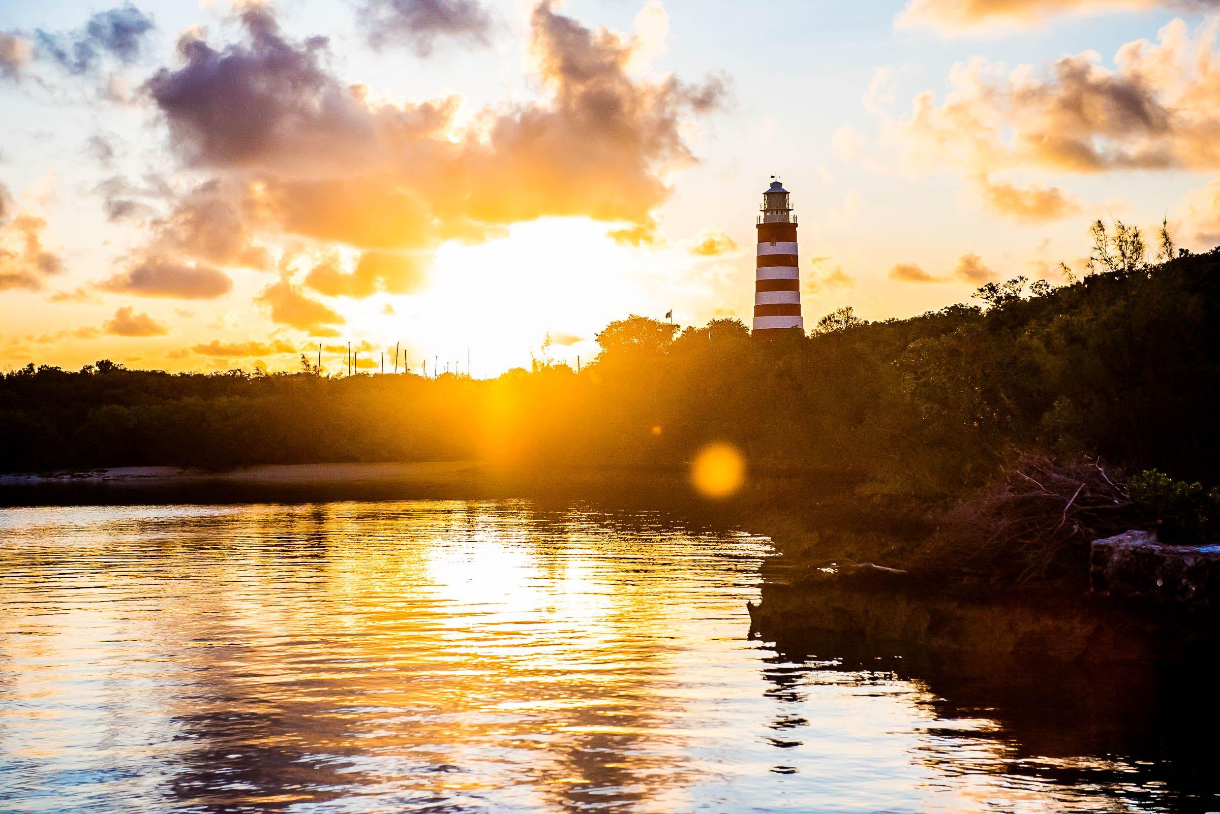 Sunrise Over The Historic Elbow Cay Lighthouse Abaco Bahamas Caribbean Travel Photography Lighthouse Bahamas