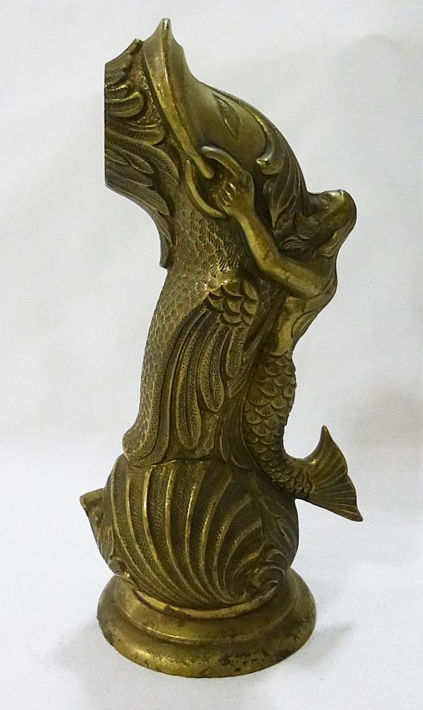Solid brass mermaid on fish spout for faucet vintage made in spain ...