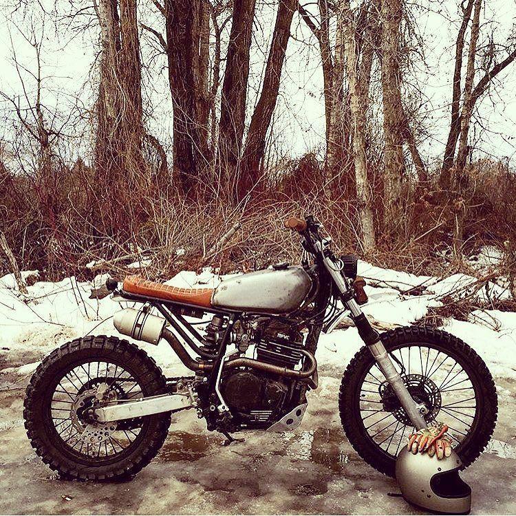 "bikebound: ""Winter Steed: Honda XR600R by @millerdust, hitting some snowy trails around Bozeman, Montana. #honda #xr600 #xr600r #dualsport #dirtbike #scrambler """