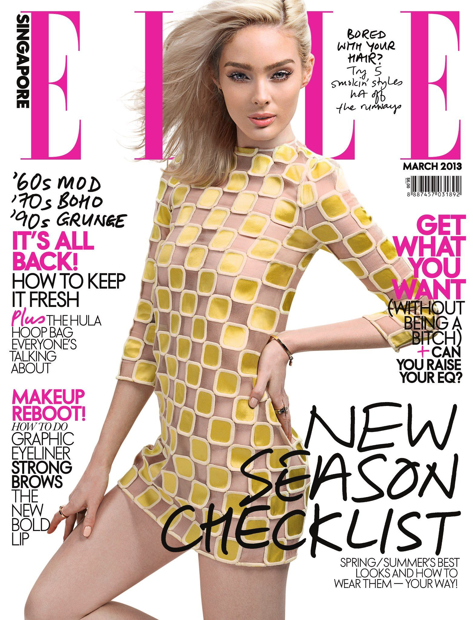 Lucy McIntosh - Elle Magazine Cover [Singapore] (March 2013 ...