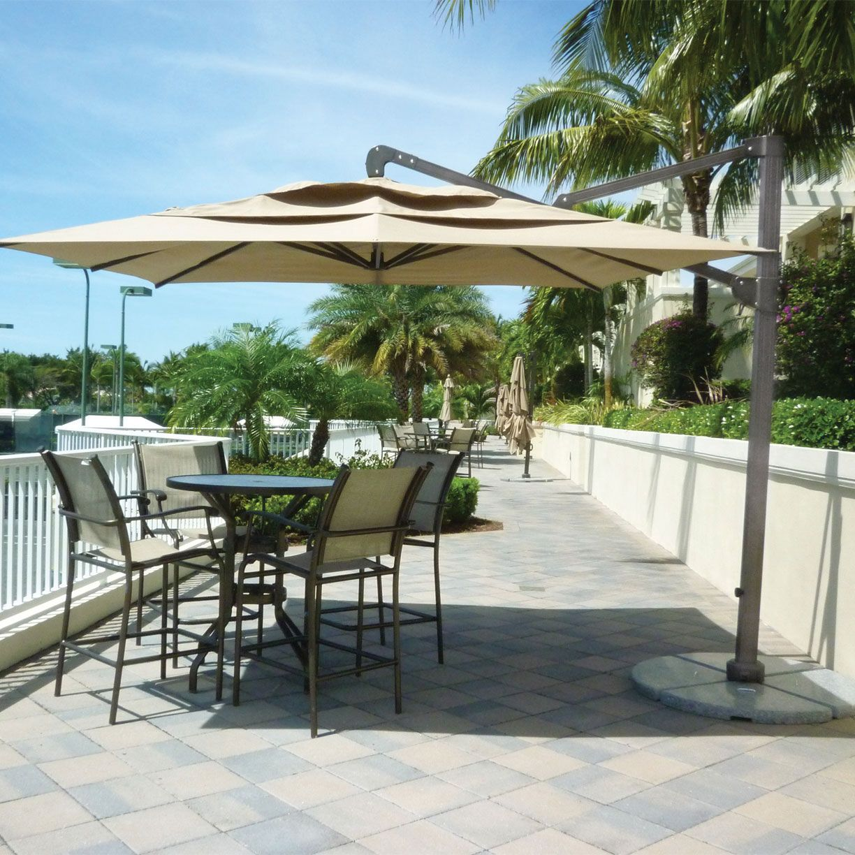 10 Square Cantilever Umbrella With Base By Fiberbuilt Commercial Umbrellas Upbeat Large Freestanding Allows Versatile Shading