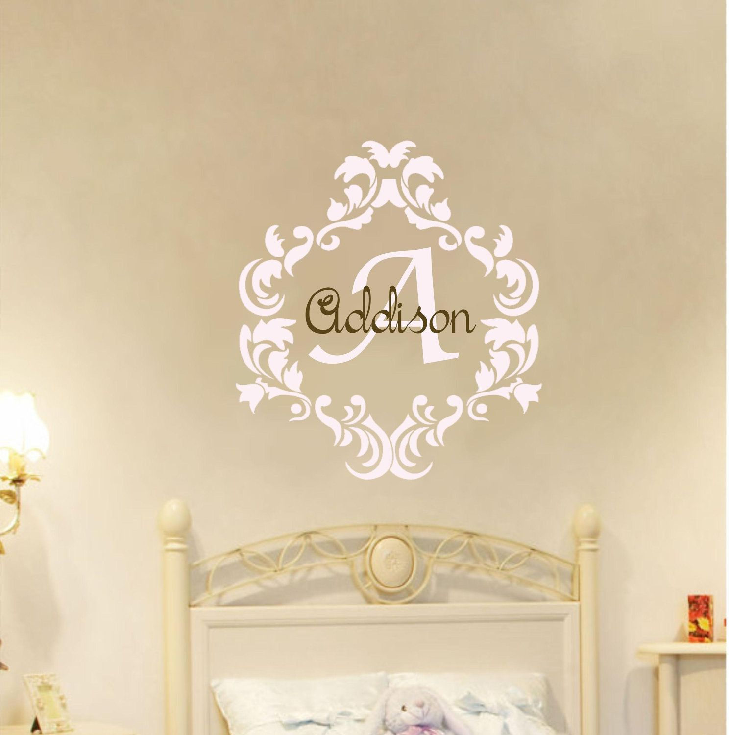 Baby Girl Name Damask Wall Decal Nursery Monogram By AllOnTheWall - Monogram vinyl wall decals for girls